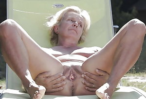 Old woman with big hairy pussy and big tits