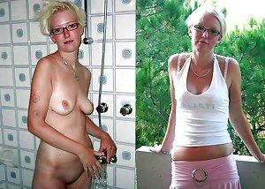 Dressed and undressed mature milf